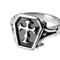 Stainless Steel Biker Ring with Celtic Cross in Black Center & Design on Side Views (Width 18MM) - Inspirelista