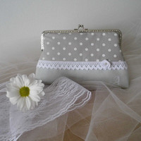 Bridesmaid clutch monogramed bridesmaid gift polka dotted cotton and linen clutch metal frame bridesmaid clutch hand stiched monograms