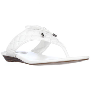 BCBGeneration Alice Flat Quilted Thong Sandals - White