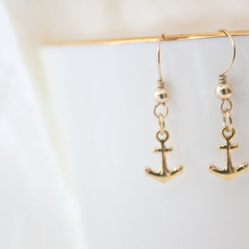Mini anchor 14K Gold filled Earrings, Everyday Jewelry with free gift box, solitaire minimalist simple tiny