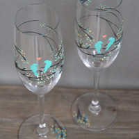 Hand painted Wedding Toasting Flutes Set of 2 Personalized Champagne glasses Gray tree branches with leaves and tiffany blue birds