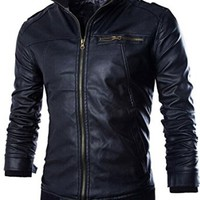 jeansian Men's Cool Stand-Collar Leather Jacket Coat Outwear 9355