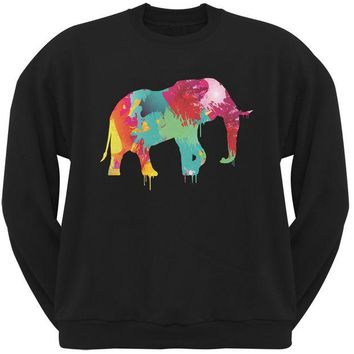 DCCKJY1 Splatter Elephant Black Adult Sweatshirt