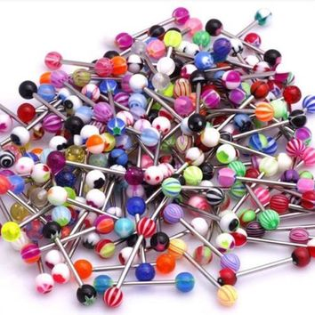 100pcs Shellhard Mix Style barbell bar tongue piercing rings fashion stainless steel mixed candy colors men women body jewelry
