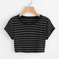 Striped Ringer Crop Tee