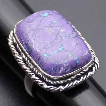 PURPLE LEPIDOLITE 925 Sterling Silver Engagement Party Banquet Ring (SIZE 7 ONLY)