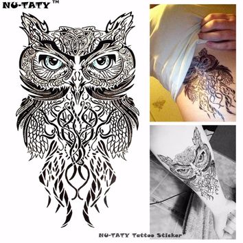 Nu-TATY Wise Owl Temporary Tattoo Body Art Flash Tattoo Stickers 12*20cm Waterproof Fake Tatoo Car Styling Wall Sticker
