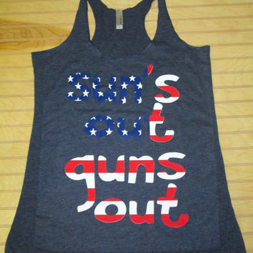 Tri Blend Racerback Tank Top Suns Out Guns Out USA Flag 4th Of July