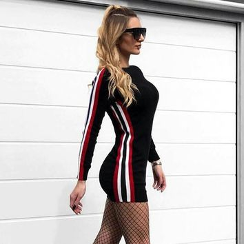 Long Sleeved Mini Dress with Side Stripe Detail