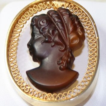 Cameo Brooch, Chocolate Brown Pin, Gold Scroll Frame Jewellery, Profile Pin, Roman Greek Goddess Brooch, Vintage Fashion Costume Jewelry