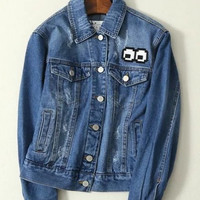 Cartoon Embroidered Lapel Long-Sleeved Denim Jacket