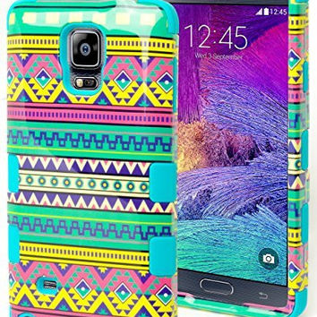 Samsung Galaxy Note 4 Hybrid Teal Silicone Cover Green Tribal  Case