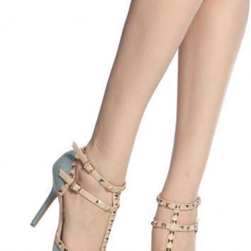Light Denim Studded Pointed Toe Single Sole Heels @ Cicihot Heel Shoes online store sales:Stiletto Heel Shoes,High Heel Pumps,Womens High Heel Shoes,Prom Shoes,Summer Shoes,Spring Shoes,Spool Heel,Womens Dress Shoes