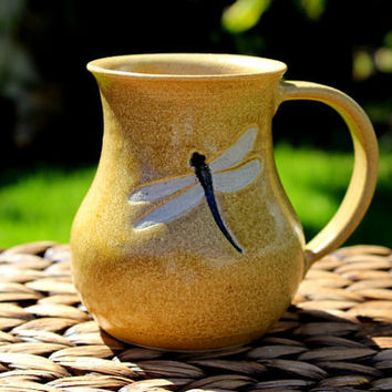Lovely Handmade Golden Stoneware DRAGONFLY Mug