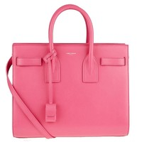 Saint Laurent Sac de Jour YSL Bubblegum Pink Leather Box Laque Satchel Handbag 355153