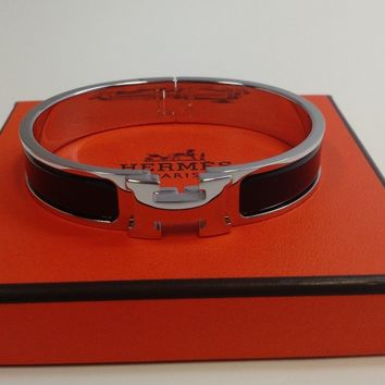 HERMES PARIS F1 01 16 LE CLIC BANGLE BRACELET H SILVER/BLACK ENAMEL SIZE GM