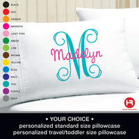Monogram Pillowcase -  Girls Personalized Pillow case - Printed Monogram Pillowcase