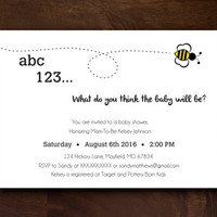 Minimal Bee Baby Shower Invitation - 5 x 7 Digital Download / DIY Printable Invitaion
