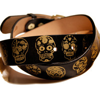 Sugar Skulls Day of the Dead Leather Belt Screen Printed
