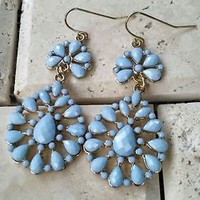 Vintage Style Light Blue Faceted Bead Dangle Earrings