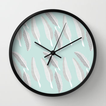 grey feathers Wall Clock by Morgan Kendall