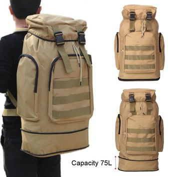 Large Capacity 75L Outdoor Male Military Tactical Backpack Cycling Hiking Climbing Sports Bag 3P Waterproof Backpack