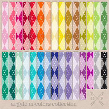 Argyle Digital Papers in 30 rainbow colors (M-Color). Great pattern for website backgrounds, printing scrapbook paper, graphic design etc.