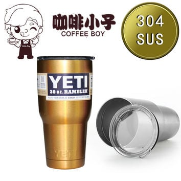 30oz Gold YETI Tumbler Rambler Beer Mug Stainless Steel Blue Yeti Cups And Mugs Travel Coffee Cup Yeti Cooler 30 oz thermocup