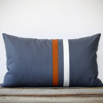 Rust and Gray Striped Pillow - 12x20 - Modern Home Decor by JillianReneDecor - Minimal Colorblock Stripes (More Colors)