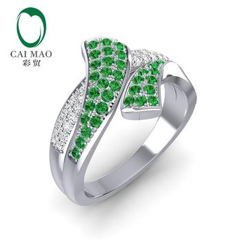 Caimao 0.87CT Natural Emerald and Diamonds 14kt White Gold Wedding Band Unisex