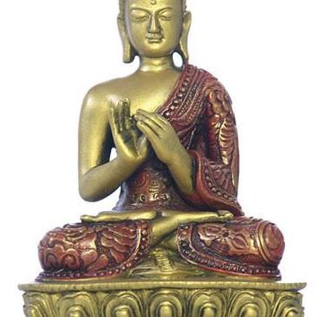 Nepali Buddha Statue, Turning the Wheel of the Dharma, Gold and Red - O-079GR