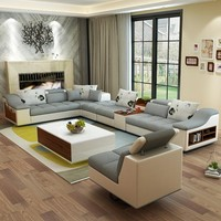 Luxury Modern U Shaped Leather Fabric Corner Sectional Sofa Set Design Couches For Living Room With Ottoman