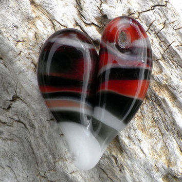 Glass Heart Pendant Black White and Red by untamedrose on Etsy