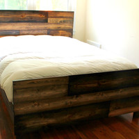 Rustic Wood Bed - King Queen Full Twin - Distressed Wood