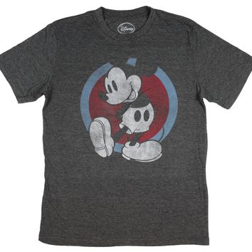 Men's Mickey Mouse Vintage Black And White Distressed Character T-Shirt