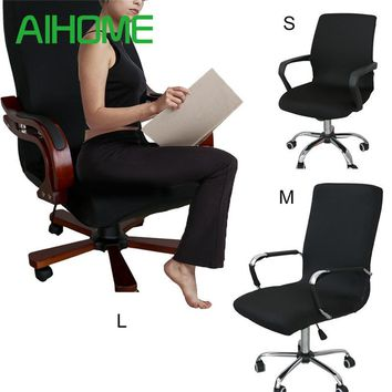 Modern Spandex Computer Chair Cover 100% Polyester Elastic Fabric Office Chair Cover 4 Colors 3 Size Easy Washable Removeable