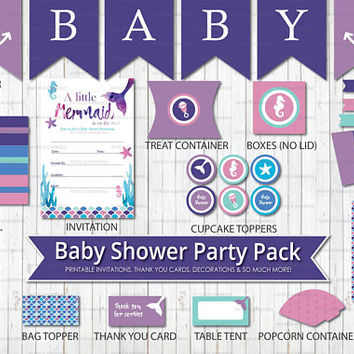 Mermaid Baby Shower, Printable Party Pack,Under the Sea, Nautical, Purple, Teal, Pink, Anchors Away, Girl, Party, DIY Decorations