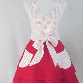 Retro Red Apron, Polka Dots, Womens, Halter Style, White, Vintage Full Skirt, Cotton, Event, Hostess, Birthday, Shower, Holiday Gift For Her