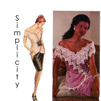 1990s Sewing Pattern DRESS Jessica McClintock Off-Shoulder 2-Piece Double Breasted Simplicity 9337 - Bust 38, 40, 42/Size 16, 18, 20 -UNCUT