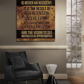 Excellence Is Never An Accident Canvas Wall Art, Motivational Wall Decor