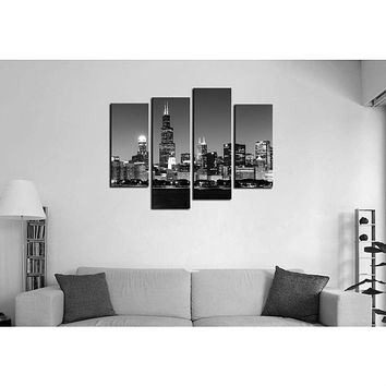 Chicago Night Skyline Black White Print 4-Panel Canvas Wall Art