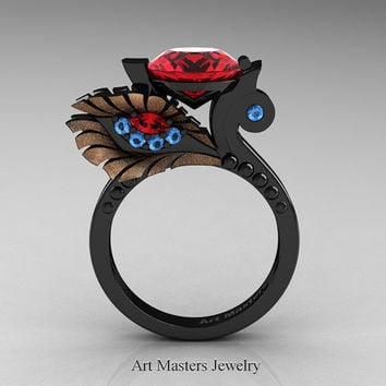 High Fashion Nature Inspired 14K Black Rose Gold 3.0 Ct Rubies Blue Topaz Marquise Eye Engagement Ring R359S-14KBRGBTR