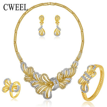 Jewelry Sets Necklace Earrings Bracelet Ring Set For Women Wedding Bridal Gold Color Imitation Crystal Party Accessories