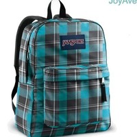JANSPORT SUPERBREAK BACKPACK SCHOOL BAG - Blinded Blue/ Grey Duke Plaid- 9BX