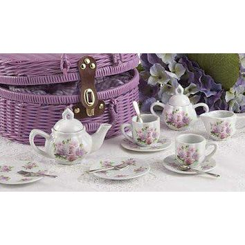 Childrens Porcelain Tea Set in Rounded Wicker Style Basket - Rose - FREE TEA INCLUDED!