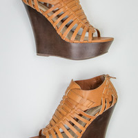 Woven Wedges in Chestnut