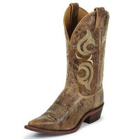 Justin Mens Puma Tan Cracked Finished Bent Rail Cowboy Boots