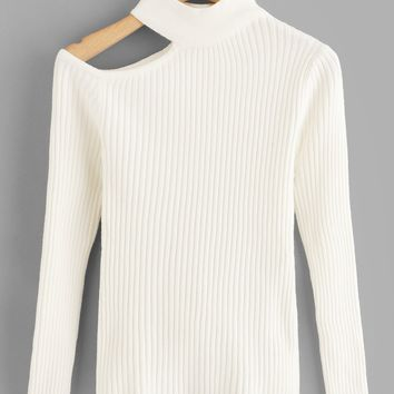 White Cut Out Shoulder Rib Sweater
