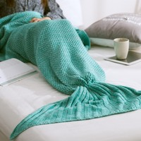 Hot Deal Birthday Gifts Knit Mermaid Sofa Blanket [8226355905]