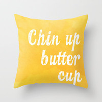 Chin Up Butter Cup Throw Pillow by Stacia Elizabeth